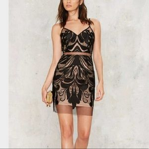 Nasty Gal Black and Nude Sheer Dress New Size L